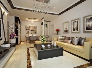,客厅,现代,白色,原木色,黄色,黑白,