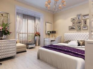 ,卧室,简约,白色,紫色,