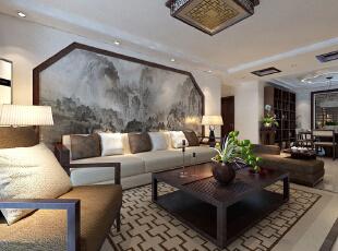 【石家庄主语城装修】主语城13号楼F户型115平三室新中式装修效果图--客厅装修效果图,