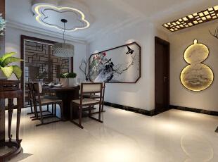 【石家庄主语城装修】主语城13号楼F户型115平三室新中式装修效果图--餐厅装修效果图,