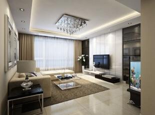 竖条纹的背景墙让客厅的高度在视觉上有所增加,华丽的吊灯令客厅的格调有所上升。,