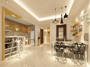 吧台,厨房和餐桌都在一处了,方便使用,并且餐厅的吊灯是亮点。,