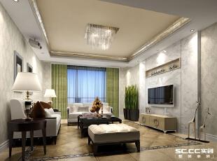 客厅设计以简单大气为主。电视背景墙为白色石材,内嵌木质隔板架,体现主人低调内敛的气质。,