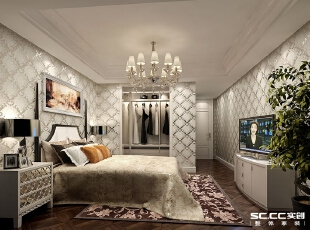 主卧室依据主人的喜好以白色调为主。在进门处隔出一个步入式的衣帽间,满足女主人平时的需要。,