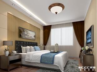 主体墙采用壁纸和石膏板相结合,降低了压迫感,壁纸颜色沉稳,整体颜色为睡眠营造舒适、高雅的静谧氛围,