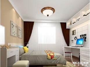 纯白色书桌搭配木质床,给整个空间增加了一丝温暖。,