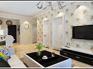 客厅以浅色的暖调为主体色调,温馨淡雅。,