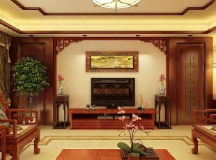 【石家庄西部枫景二期装修】西部枫景6号楼155平三室中式装修效果图--客厅电视墙装修效果图 ,