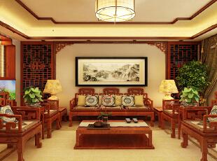 【石家庄西部枫景二期装修】西部枫景6号楼155平三室中式装修效果图--客厅沙发背景墙装修效果图,