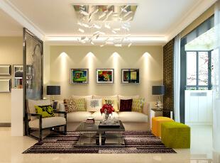 石家庄想象国际南区3号楼两室89.96平现代风格装修案例--客厅沙发背景墙装修效果图,