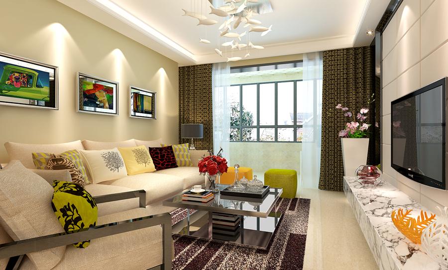 96平现代风格装修案例--客厅装修效果图