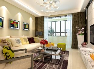 石家庄想象国际南区3号楼两室89.96平现代风格装修案例--客厅装修效果图,