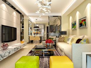 石家庄想象国际南区3号楼两室89.96平现代风格装修案例--客厅整体装修效果图,