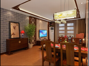 正商新蓝钻-138平米-雅韵中式风格装修--餐厅,