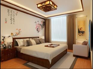 正商新蓝钻-138平米-雅韵中式风格装修--卧室,