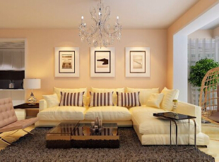 吴家村10号院76平二居室-客厅 整体以暖色调为基础,墙漆选用浅黄色,配以浅色系的地板,纯白色的包边加墙面.吊顶不设造型,,