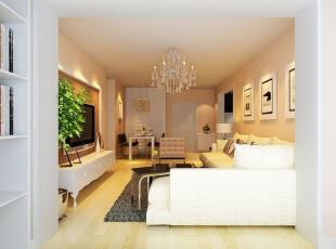 吴家村10号院76平二居室-客厅 沙发选用浅色,部分深色茶几、地毯、座椅点缀,营造出一种简洁、大方的现代温馨感觉。,