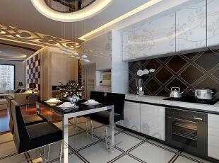 厨房采用黑白灰即明亮,也不改变屋子里的整体颜色搭配,