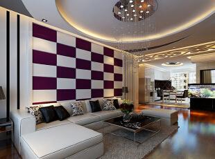 沙发背景采用紫色和白色的马赛克,在黑白或只剩添加了一点点紫色,