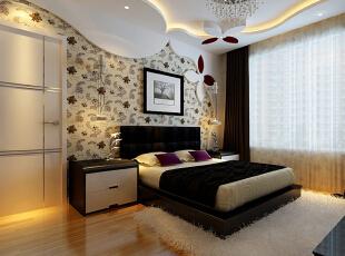 次卧是以花绘图案为模型,设计的床头背景,体现出年轻具有活力的年轻人的起居空间,