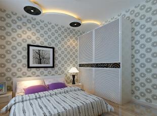 卧室里面以浅色为主,略加黑色吊顶造型,美观而又不缺乏浪漫,