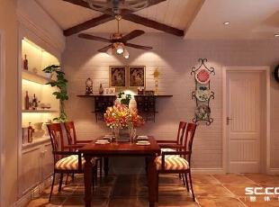餐厅的布局以简单明了为主题,布置了深色的餐桌椅和特色的吊顶。墙面以白色墙砖做装饰,于主题视觉对应,而其生动的造型和高度,使用餐桌区弹性变化成为宴请的空间。,