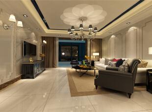 整个客厅以浅色调为主,黑白作对比,整体简洁,尽显奢华,主人个性张扬,运用石材和护墙,凸显客户品味和性格。吊顶做了灯槽,加了一些车边境,有增强空间感和奢华气息,符合了小年轻的要求。云石石材,搭配白色护墙板,这种硬朗的材质搭配具有布艺的沙发,再加黑色皮质沙发作搭配,时尚感十足。,