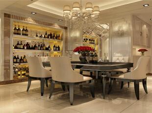 餐厅是一家人或和朋友聚餐的一个重要空间,黑色的餐桌平我i有白色皮质餐椅具有明显的对比,餐椅腿用黑色烤漆,呼应了餐桌。墙上镜子增加房子空间有具有美好的寓意,白色的酒柜配有木质材料,让空间有温馨的感觉,白色的车边境,给人以意境幽远的感觉。,