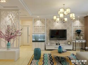 电视墙用石膏板拼框,内部有壁纸点缀,白色家具衬托。,