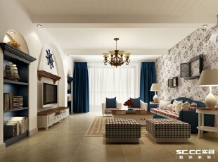 客厅以典型的地中海风格为主,以蓝白为主色调,以浅色为主深色为辅。相对比拥有浓厚欧洲风味的欧式装修风格,简欧更为清新、也更符合中国人内敛的审美观念。,