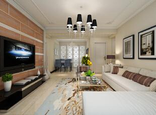 紫睿天和2号楼F户型117.67平三居室现代风格装修案例--客厅装修效果图,
