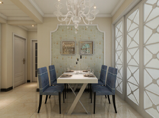 紫睿天和2号楼F户型117.67平三居室现代风格装修案例--餐厅装修效果图,