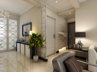 紫睿天和2号楼F户型117.67平三居室现代风格装修案例--玄关装修效果图,