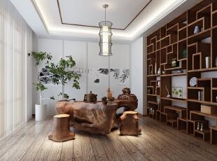 香山艺墅新中式风格茶室装修效果图图片