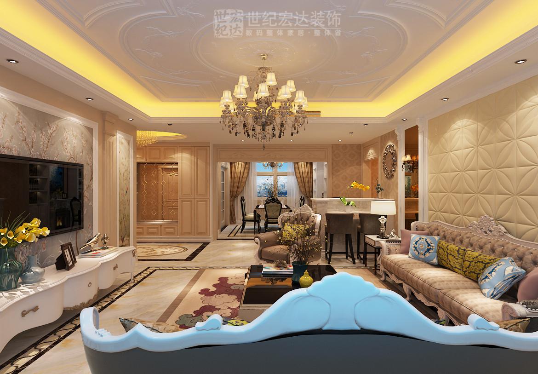 客厅吊顶用石膏线做出造型,更显时尚,凸显了风格,很有质感.