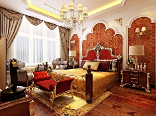 卧室装修效果图 卧室区域墙面以壁纸为主,床头石膏线造型突出欧式色彩图片