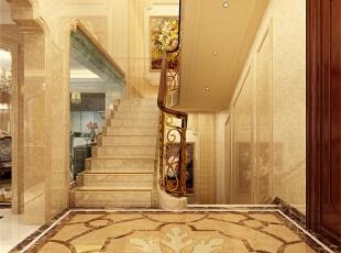 楼梯设计具有明显的欧式风格,无论是从扶手的考虑还是材质的选择都