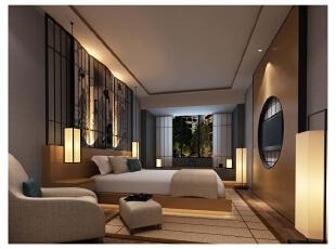 设计师以绘有人物图的屏风进行装饰,使得客房中的中式氛围更加浓厚.图片