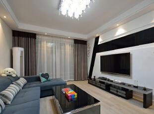 客厅,客厅,白色,黑白,相片墙,墙面,收纳,灯具,
