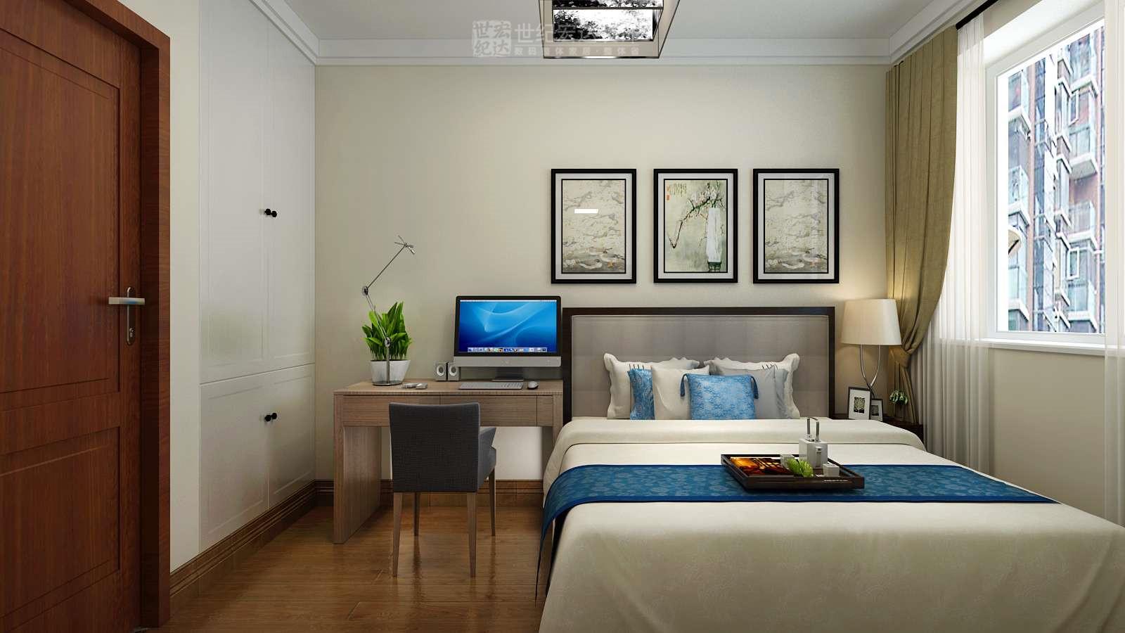 主卧室,次卧室,书房顶面石膏线,地面实木复合地板,衣柜为正品定制.