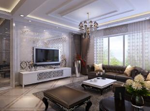 前门前小区三居室154平米简欧风格客厅装修效果图 --生活家装饰.图片