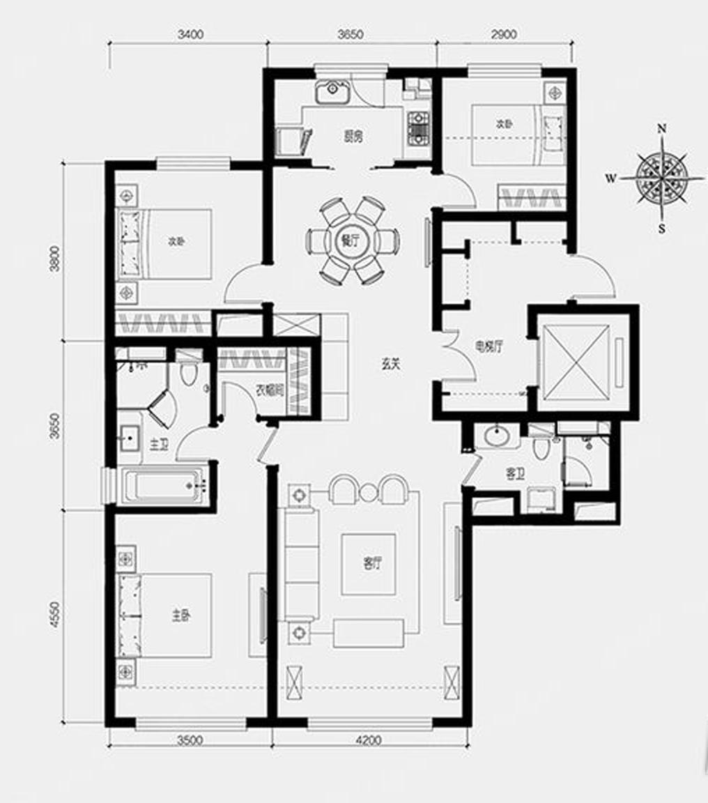 亦庄·金茂悦3室2厅128平米现代风格