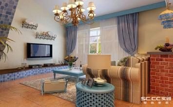 实创装饰-地中海风格-祝福红城-162平四居室装修施工实景图