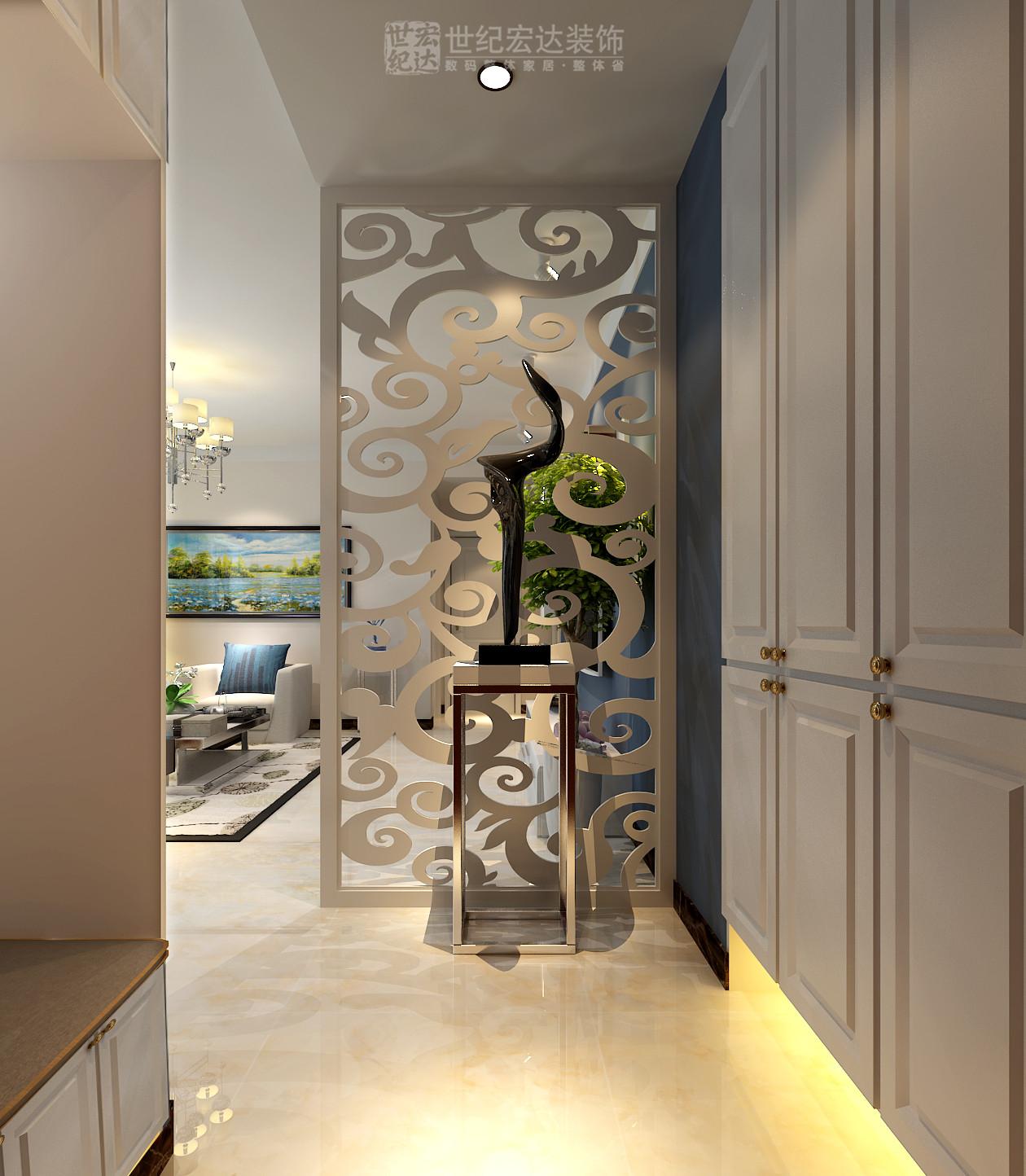 入户做整体花格造型,独立玄关区域,利用两侧空间做整体鞋柜,衣帽柜,既