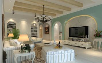 天伦庄园 245平大宅复式 地中海风格 装修设计案例 效果图