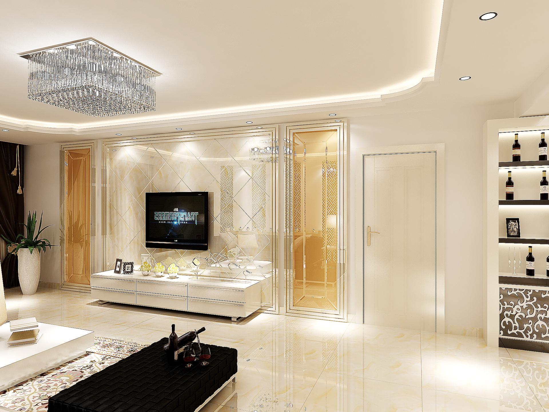 港式风格的装修中,客厅的以黄色为主调,展现一个休闲的氛围,电视墙