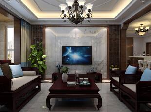 电视背景墙采用中式花格与石材的完美,中式风格的古色古香与,客厅图片