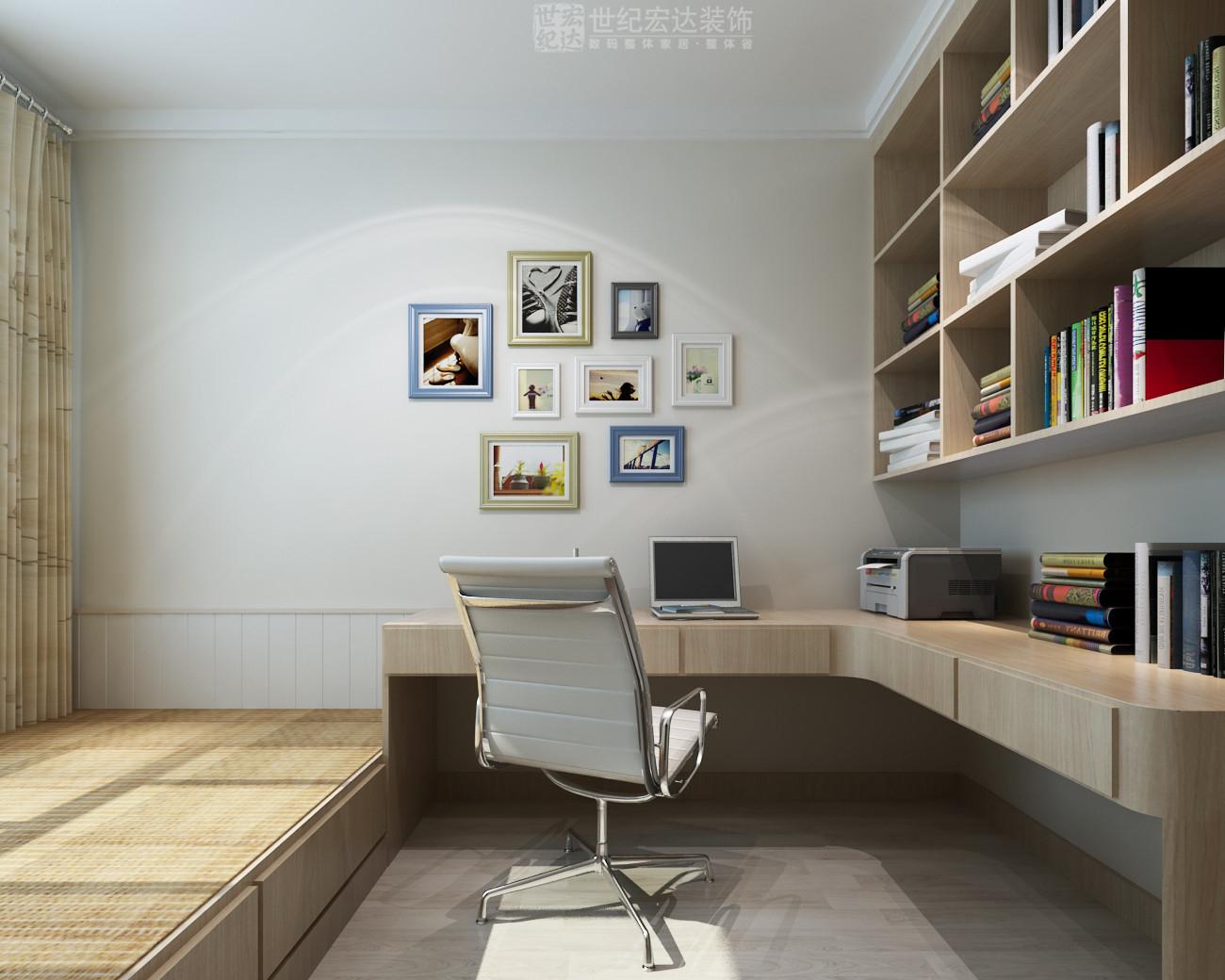 书房做了榻榻米,可以满足客房的功能需求,书桌做了转角的,实用性强