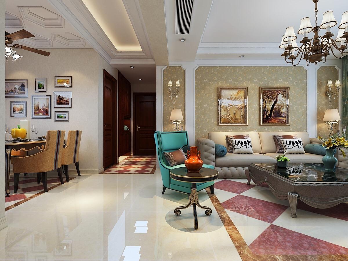 石家庄长九中心120平米户型欧式风格装修设计