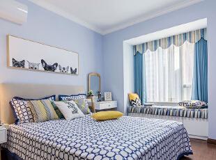 ,卧室,白色,蓝色,飘窗,
